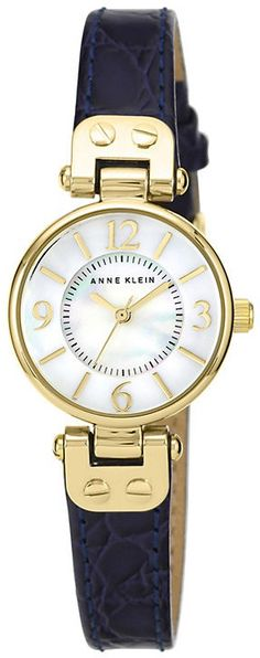 65 GBP http://www.shopstyle.co.uk/ Anne Klein Ladies' White Dial Navy Leather Strap Watch