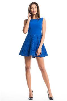 İroni Lazer Kesimli Saks Mavisi Mini Elbise