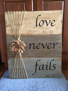 I took several different ideas and meshed them together into this. It was so much fun to make! I used CeCe Caldwell paint, Annie Sloan wax, a lamp shade embellishment, rope, vinyl letters from my Cameo Silhouette and wood from our house. - Crafts Diy Home Diy Wood Signs, Rustic Signs, Wooden Pallet Signs, Barn Wood Signs, Wall Signs, Pallet Letters, Twine Letters, Pallet Board Signs, Country Wood Signs
