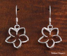 15mm Floating Plumeria Hook Earrings Silver - Makani Hawaii,Hawaiian Heirloom Jewelry Wholesaler and Manufacturer