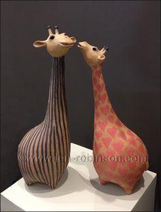 Giraffe Fashion Parade by Hippopottermiss on DeviantArt Pottery Animals, Ceramic Animals, Clay Animals, Pottery Sculpture, Sculpture Clay, Clay Projects, Clay Crafts, Ceramic Pottery, Ceramic Art