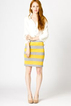 Yellow and gray skirt with thick stripes...cute! Needs to be just a bit longer though.
