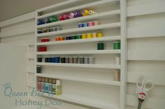DIY craft room organizer - perfect for thread, paint, glitter and glue.