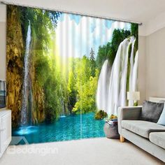 Waterfall landscape Photo Printing Blackout Window Curtains For Living room Bedding room Hotel/Office Drapes Cortinas para Cheap Curtains, Kids Curtains, Curtains For Sale, Drapes Curtains, Luxury Curtains, Shower Curtains, Waterfall Scenery, 3d Living Room, Bedroom Photos