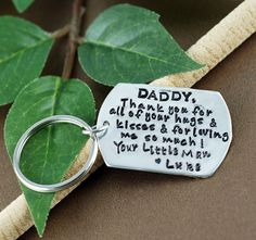 A fine pewter rounded rectangular tag can be hand stamped with custom wording. On a stainless key ring. This keychain is hand stamped. Expect variations in lettering- this adds character and beauty to each piece. Sweet Blossom, Mommy Jewelry, Baby Love, Gifts For Dad, Hand Stamped, Fathers Day, I Shop, Daddy, Lettering