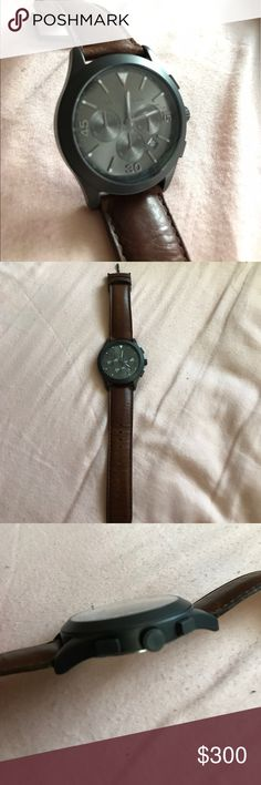 Michael Kors Watch Brown leather watch, All stainless steel. Used twice Michael Kors Accessories Watches