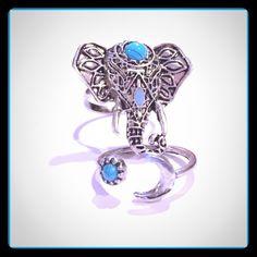 ELEPHANT 2PC RING SET Elephant / Moon & Sun Boho Tribal Tibetan Silver / Turquoise 2PC Ring Set                                        Elephant ring is adjustable. Jewelry Rings