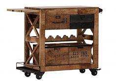 Casa Padrino Bar Trolley Servierwagen aus Mango Massivholz - Hotel & Restaurant Einrichtung Möbel