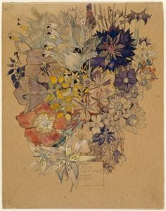 Mixed flowers, Mont Louis; the predominant colours being blue, yellow and red, the heads of birds at upper l. 1925 Watercolour, over graphit...