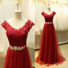 Ruby Lace Appliques Long Prom Dress With Crystal Sash, 2015 Cute V Neck Evening Dress with Soft Sheer Tulle. suzhoudress.com