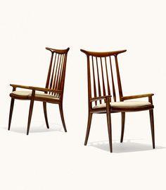 Sam Maloof; Walnut Horn Back Armchairs, c1960.