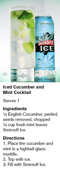 Iced Cucumber and  Mint Cocktail