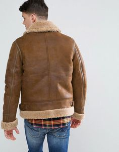ASOS Faux Shearling Jacket in Tan - Brown