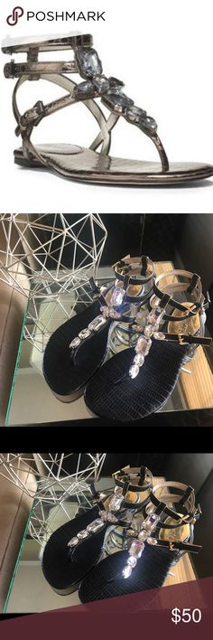 Michael Kors Jayden Jeweled Sandals in Black Jeweled T-strap. Triple adjustable straps. Flat heel. Leather Sole. Size 5 1/2. In great condition! Michael Kors Shoes Sandals