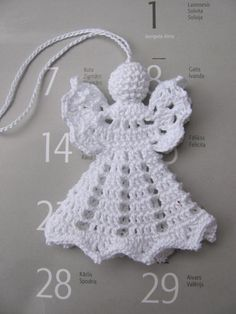 Items similar to crochet angel christmas decoration on etsy - Modern Crochet Christmas Decorations, Crochet Ornaments, Christmas Crochet Patterns, Holiday Crochet, Crochet Snowflakes, Crochet Gifts, Diy Crochet, Tree Decorations, Crochet Angel Pattern