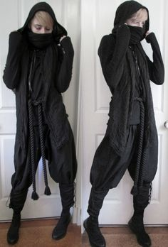 "crowrunner: """"~Nightfury ninja~ "" Cropped hood is from Lip Service Belt is from BytheR Neoprene high-top sneakers from Vagabond Top and scarf are second hand Pants are unbranded """
