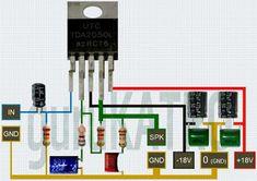 Power Amplifier TDA 2050 bisa sub woofer Basic Electronic Circuits, Electronic Circuit Design, Electronic Schematics, Electronic Devices, Amplificador 12v, Electronics Projects For Beginners, Diy Guitar Amp, Subwoofer Box Design, Speaker Plans