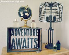 Adventure Awaits sign idea From Eclectic Teen Boy Bedroom Makeover - Rustic Industrial Cage Light, Vintage Crate Rustic Industrial Bedroom, Industrial Cage Light, Rustic Chic Decor, Industrial Furniture, Vintage Industrial, Rustic Cafe, Rustic Logo, Rustic Restaurant, Rustic Desk