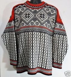 Men-039-s-Heavy-100-Wool-Nordic-Sweater-XL-Thick-SKI-Black-Canyon-Made-in-Canada