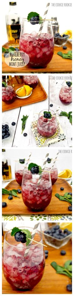 Blueberry & Honey Mint Juleps!! YUM! Kentucky Derby here we come! #foodblog #recipe #food #cocktail {The Cookie Rookie}