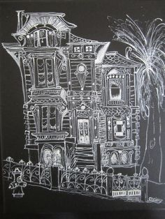Victorian Celebratin - Victorian house acrylic on black canvas painting by Chrissy