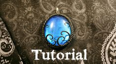 Azure Fantasy/Gothic Polymer Clay Pendant | Velvetorium | 軟陶, Полимерная...Can you believe the cabochon is clear glass painted with acrylic paint?