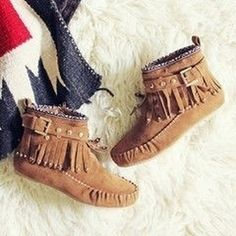 Faux Suede Moccasin Style Fringe Rubber Sole Ankle Boots in Camel from Chunks of Charm