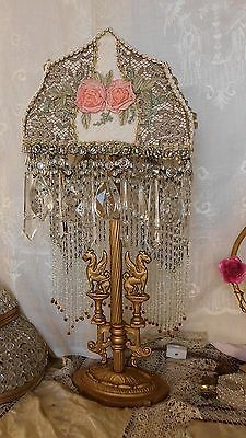 Antique+Bronze+Lamp~Beaded+French+Chantilly+&+Metallic+Lace+Shade~Ribbon+Roses