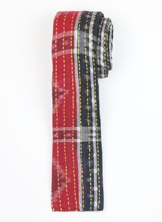 Hand-stitched Cotton Men's Tie - Red and Black Stripe