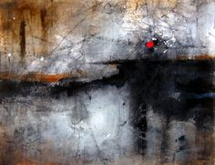 """""""Landscape with red sun"""" by Pedro Pascual Perello - mixed media on paper"""