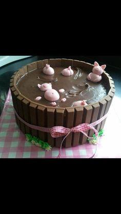 Such a cute cake! Pigs in the mud.