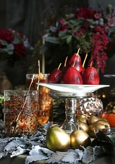 Description of . Hibiscus poached seckel pears are displayed with pickled pear mustard as part of a luxurious yet rustic dinner party themed...