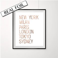 TOP CITIES copper foil print New York Milan by PeppaPennyPrints