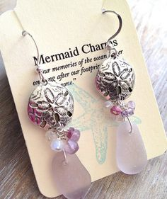 Sea Glass Earrings Lavender Sea Glass  and Stone by MermaidCharms, $44.00