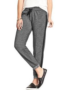 Women's Side-Stripe Fleece Pants | Old Navy