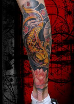 Koi Knee Tattoo, Leg Tattoo Men, Calf Tattoo, Leg Tattoos, Body Art Tattoos, Cool Tattoos, Japanese Leg Tattoo, Japanese Tattoo Designs, Japanese Sleeve Tattoos