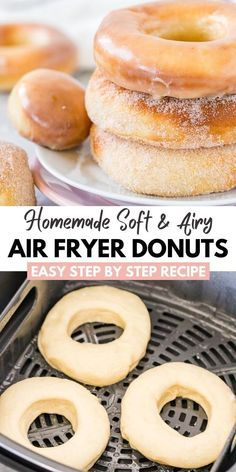 Air Fryer Donuts made from scratch with yeast dough taste like the real deal. Better than baked and less fat than deep-fried! Learn how easy it is to make the perfect Doughnuts in the Air Fryer! Air Fryer Recipes Dessert, Air Fryer Oven Recipes, Air Frier Recipes, Donut Recipes, Cooking Recipes, Delicious Desserts, Yummy Food, Air Fried Food, Donuts