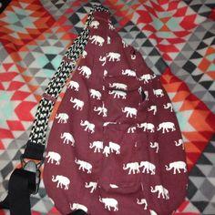Kavu Rope Bag Crimson, with elephants, and a houndstooth strap. Kavu Bags
