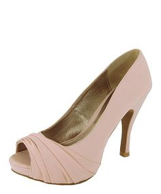 Look what I found on #zulily! Light Pink Ruched Peep-Toe Pump by Qupid #zulilyfinds At only $13.99 too, so a super cheap solution for bridesmaids shoes or brides shoies in blush #aislestyle