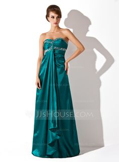 Empire Sweetheart Floor-Length Ruffle Beading Zipper Up Strapless Sleeveless Jade Winter Fall General Plus Charmeuse Holiday Dress