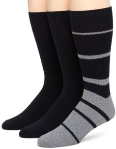 Kenneth Cole Mens Thick Thin Stripe 3 Pack Socks