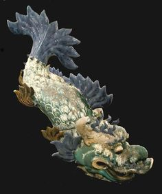 Ming Glazed Terracotta Architectural Sculpture of a Dragon Fish