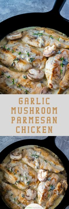 Herbs galore. The garlic, thyme, oregano, basil and mushrooms all come together to create a delicious, earthy taste to this Garlic Mushroom Parmesan Chicken. If you're looking for a chicken recipe that won't leave you with eater's regret and is healthy(ish), look no further.
