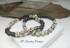 Dalmatian Jasper Lava Beads Bracelet Mens by IDJewelryDesigns