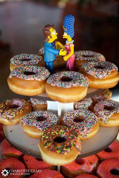 Homer and Marge Donut wedding cake    charlottegeary.com