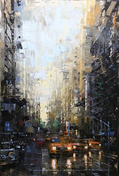 paisaje urbano Fifth Ave After Rain von Mark Lague Oil ~ 36 x 24 Urban Painting, City Painting, Oil Painting Abstract, Painting People, Abstract Portrait, Watercolor Artists, Painting Canvas, Acrylic Paintings, Urban Landscape