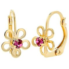 18k Gold Plated Pink Crystal Flower Dangle Leverback Girl Teens Lady Earrings -- Continue to the product at the image link.