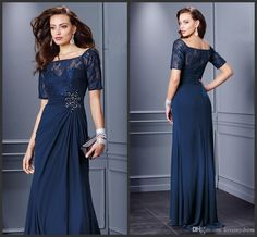 Navy Blue Evening Dresses 2016 Elegant Half Sleeve Square Neck Lace Formal Dress Chiffon Gown Floor Length Crystals On Waist Beautiful 1950s Evening Dresses Backless Evening Dresses Uk From Lovemydress, $93.69| Dhgate.Com