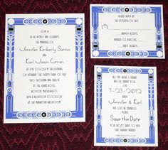 Blue and White Art Deco, Roaring 20s wedding invitation, reply card, & save the date