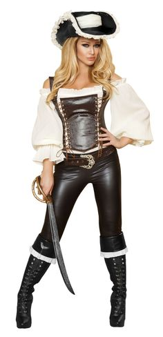 Five Piece Pirate costume.Includes Full Sleeve Top And Corset With Lace-Up Detail, Belt With Rhinestone Buckle And Skiny Capri Pants And Sword